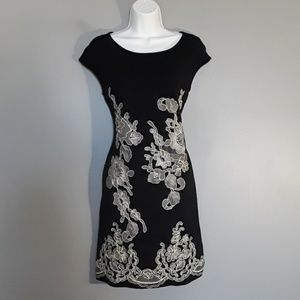 INC black cap sleeve dress w/ cream embroidery, M